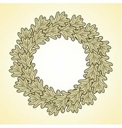 round frame from oak leaves vector image