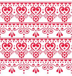 scandinavian hearts seamless pattern folk vector image