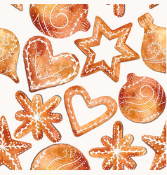 seamless pattern of christmas gingerbread vector image