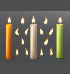 set of burning candles with different flames vector image