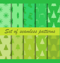 set of christmas seamless patterns fir trees vector image