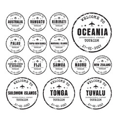 Set old stamps with name cores vector