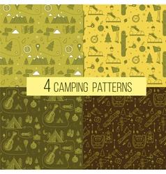 set seamless camping patterns vector image