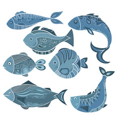 set stylized fish a collection of vector image