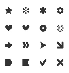 Simple common shape style stickers icon set vector image