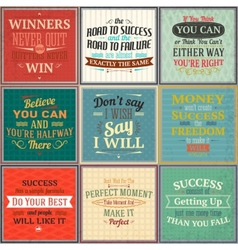 Success quotes colored set vector image
