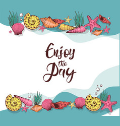 summer card design with hand drawn shells and sea vector image