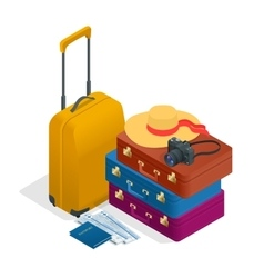 Travel bags passport foto camera and travel vector image