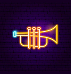 trumpet neon sign vector image