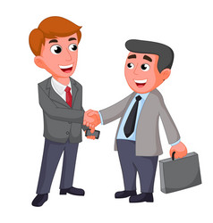 Two businessman shaking hands happy negotiating vector