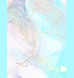 Watercolor stain art marble poster blue gold vector