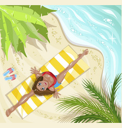 woman in yoga asana on beach concept for vacation vector image