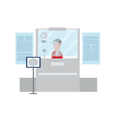 worker lady passport control vector image