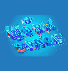 workspace city letters small people live work vector image