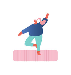 yoga practice overweight girl in sports wear vector image