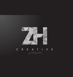 zh z h letter logo with zebra lines texture vector image