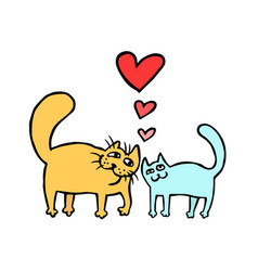 cute enamored cats isolated vector image vector image