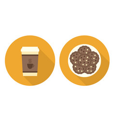 Flat cup of coffee plate with cookies vector