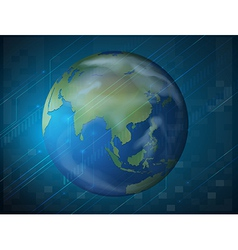 Planet earth on blue background vector