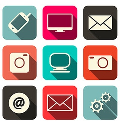Retro technology internet communication icons set vector