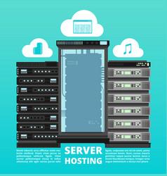 website cloud hosting digital data storage and vector image