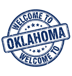 Welcome to oklahoma blue round vintage stamp vector