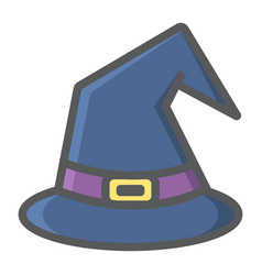 Witch hat filled outline icon halloween and scary vector