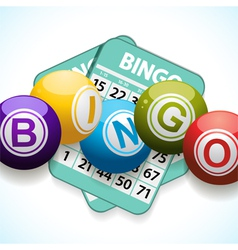 bingo balls and card on a white background vector image vector image