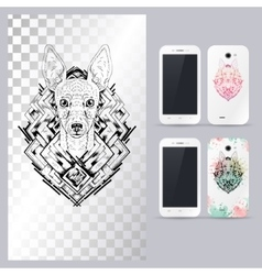 Black and white animal dog head vector image vector image