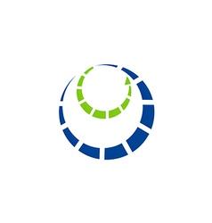 circle orbit technology communication logo vector image vector image