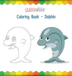 Dolphin coloring book educational game vector image vector image