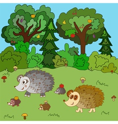 Family of hedgehogs walk on a forest glade vector image