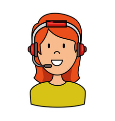 Female call center agent vector