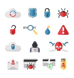 Hacker flat icons set with bug virus crack worm vector image vector image