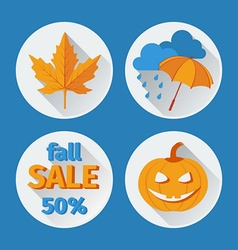 icons set autumn flat design vector image vector image