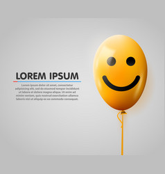 realistic yellow balloon smiley face vector image