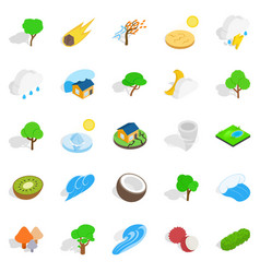 riot of nature icons set isometric style vector image vector image