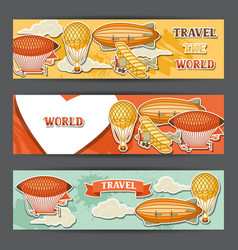 travel banners with retro air transport vintage vector image vector image