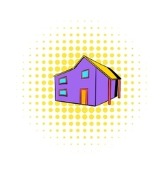 Two-storey house icon comics style vector image vector image