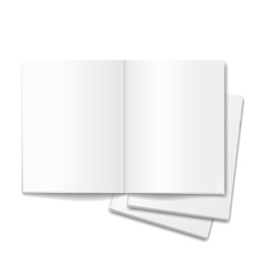 Blank open books isolated over white background vector image vector image