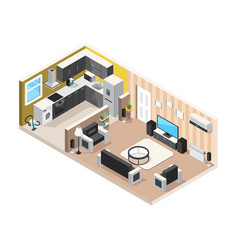 home interior isometric design concept vector image
