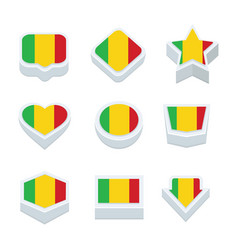 Mali flags icons and button set nine styles vector