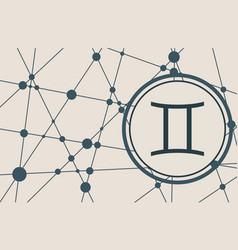 Zodiac symbol in circle on geometry backdrop vector
