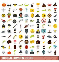 100 halloween icons set flat style vector image