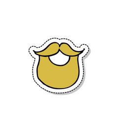 beard doodle icon vector image vector image