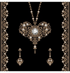Gold jewelry set on black vector image vector image