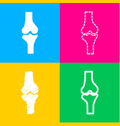 knee joint sign four styles of icon on four color vector image