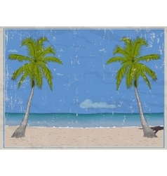 Retro poster with sea paradise vector image