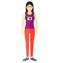 Woman with camera on chest vector image