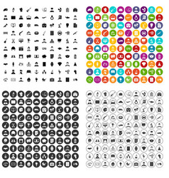100 career fair icons set variant vector